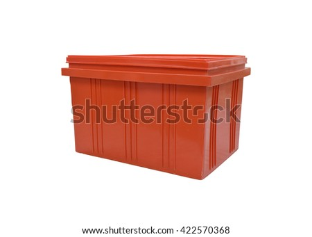 Red plastic box packaging of finished goods product on white background with clipping paths