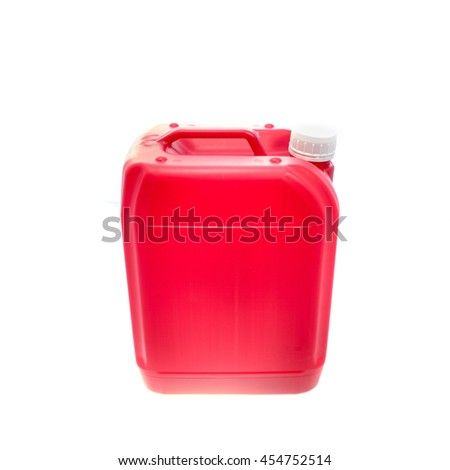 Red plastic canister, container; isolated on white background  - stock photo