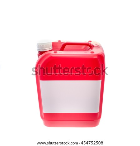 Red plastic canister, container with label: your text here; isolated on white background  - stock photo