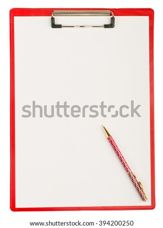 Red plastic clipboard with a pen isolated on white  - stock photo