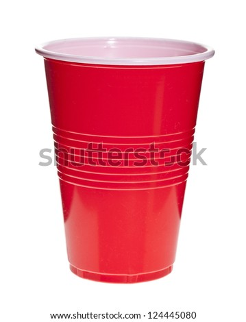 Red plastic cup isolated in a white background - stock photo
