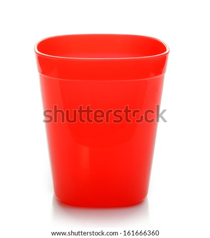 Red Plastic Cup isolated on white background - stock photo