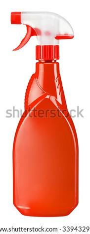 Red plastic dispenser / studio photography of spray multipurpose cleaner - isolated on white background - stock photo