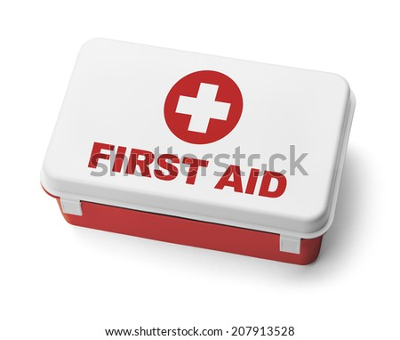 Red Plastic First Aid Kit Box Isolated on White Background. - stock photo