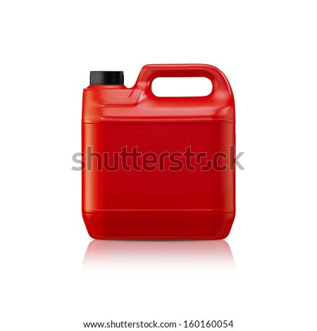 Red plastic gallon, jerry can  isolated on a white background.  (with clipping work path) - stock photo