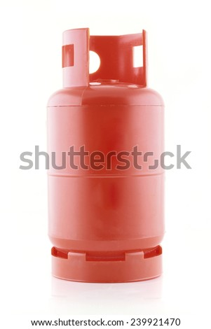 Red plastic gas tank isolated on a white background. - stock photo