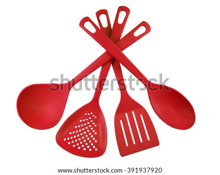 Red Plastic Kitchen Utensils Isolated On White. Clipping Path Included.
