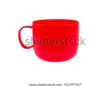 Red plastic mug with handle isolated on white background