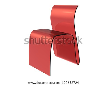 Red Plastic Sheet Chair isolated on a white background - stock photo