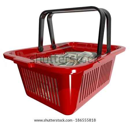 red plastic shopping basket, filled with dollars