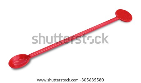 Red plastic spoons on white background - stock photo