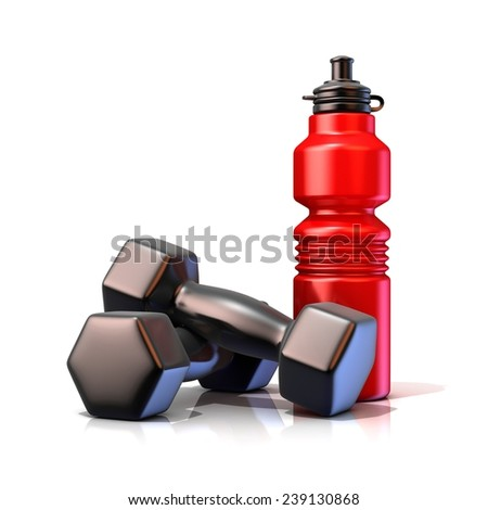 Red plastic sport bottles and black weights. 3D render isolated on white background - stock photo