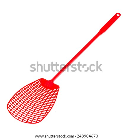 red plastic swatter isolated on white - stock photo