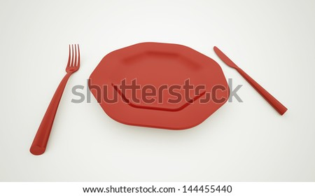 Red plate with service - stock photo