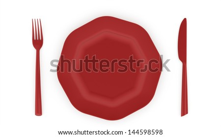 Red plated with service rendered isolated on white background - stock photo