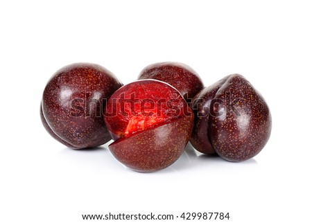 Red plum fruit isolated on the white background.