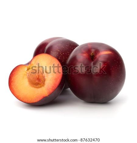 Red plum fruit isolated on white background - stock photo