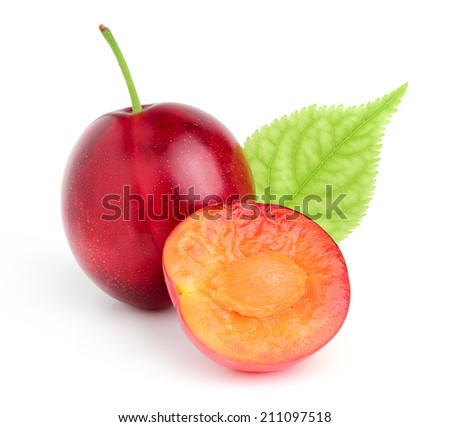 Red plum with a leaf isolated on white background. - stock photo