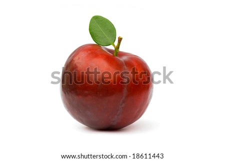 Red plum with green leaf, isolated on the  white background