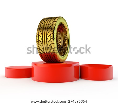 red podium with the unique gold tire - the winner - stock photo