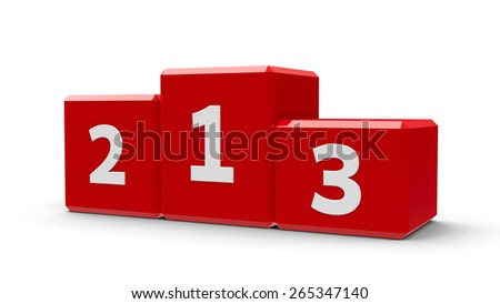 Red podium with three rank places, three-dimensional rendering - stock photo