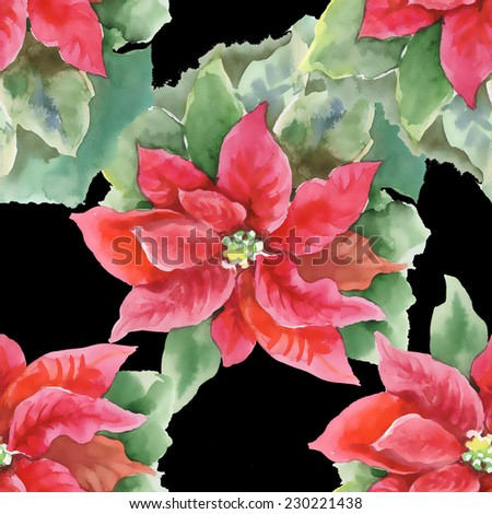 Red Poinsettia with Green Leaves seamless pattern on black background, watercolor illustration - stock photo
