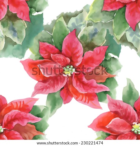 Red Poinsettia with Green Leaves seamless pattern on white background, watercolor illustration - stock photo