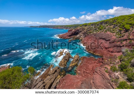 Red Point lookout near the Boyds Tower, inside the Ben Boyds National Park, with a view on the unusual rock formation. Eden, Merimbula and Sapphire Coast, New South Wales, Australia. - stock photo