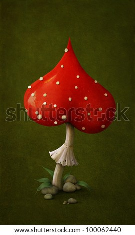 Red poisonous mushroom in form of  symbol heart. Illustration or  postcard. Computer Graphics. - stock photo
