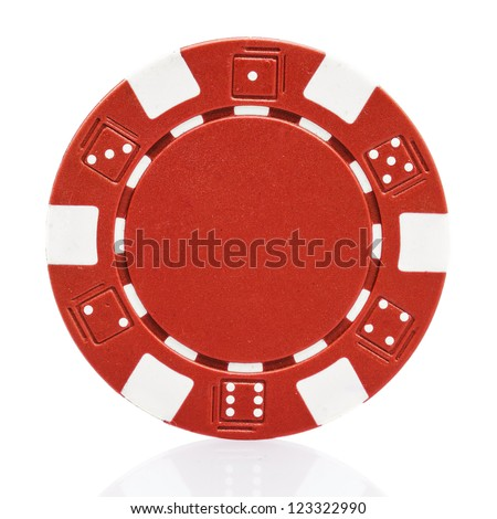 Red poker chip isolated on white - stock photo