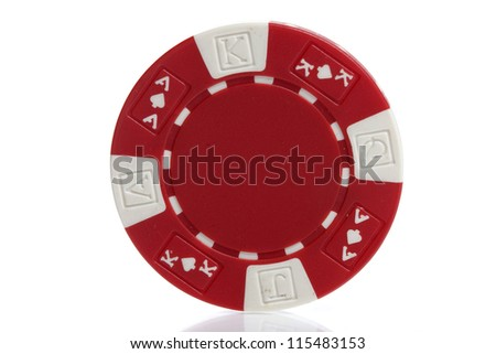 red poker chips on white