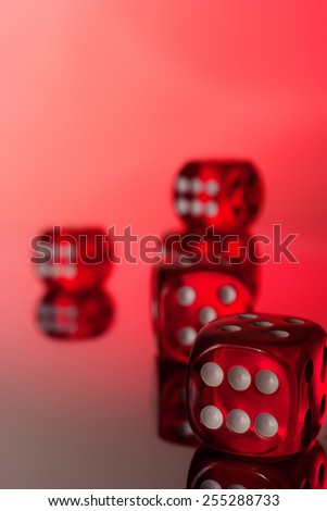 Red poker dices on red background