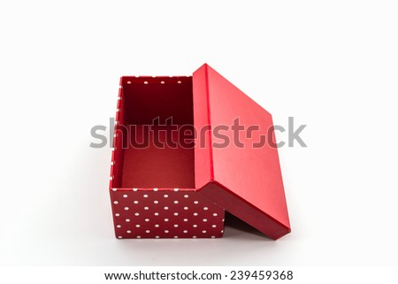Red polka dots box on white background,with clipping path. - stock ...