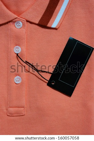 Red polo t-shirt and blank label.