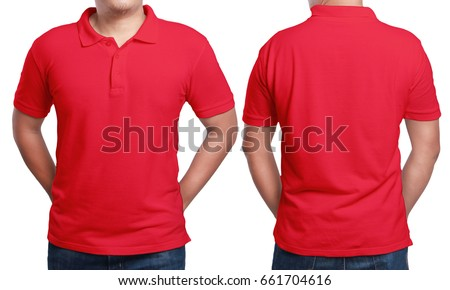 Red polo tshirt mock up front stock photo 661704616 for T shirt mockup front and back