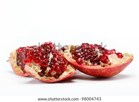 Red pomegranate fruit. Isolated on white background