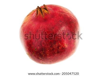 Red pomegranate isolated on white background with clipping path
