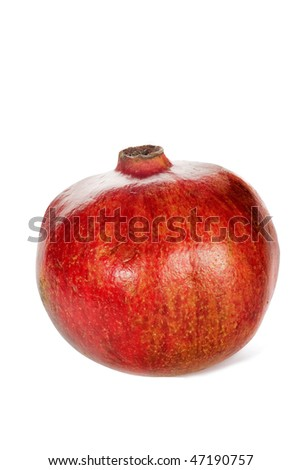 Red pomegranate isolated over white