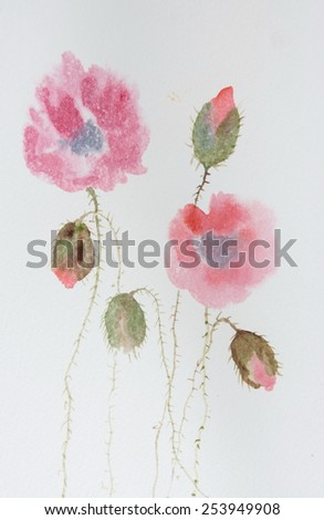 Red poppies on white; Watercolor painting - stock photo