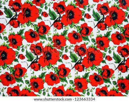 Red poppy flowers background - stock photo