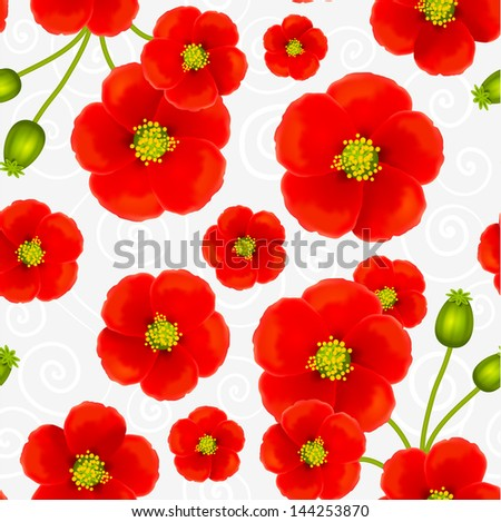 Red poppy flowers seamless pattern - stock photo