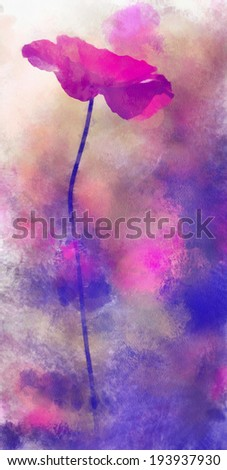 Red poppy illustration on abstract watercolor background - stock photo