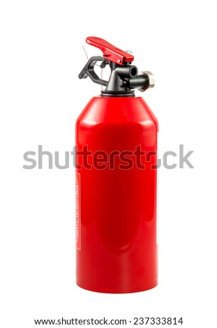 Red portable fire extinguisher isolated on white. - stock photo