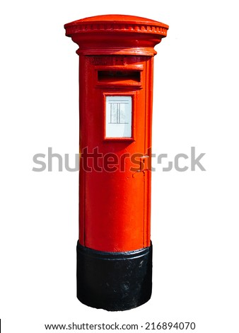 Red post box isolated on white. - stock photo