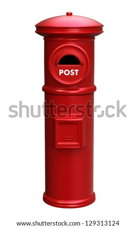 red post box with clipping path