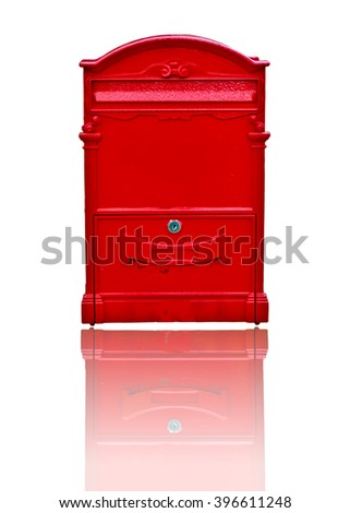 Red postbox on white background