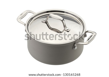 Red pot with cover,  Isolated on white background - stock photo