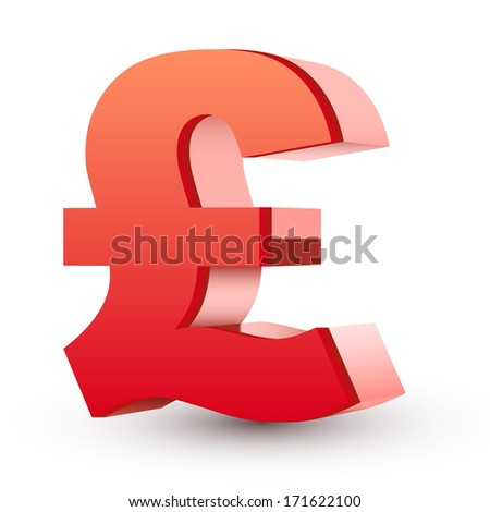red pound symbol isolated white background - stock photo