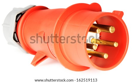 Red power connector isolated on the white