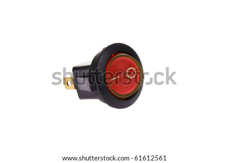 Red power switch in on position - stock photo